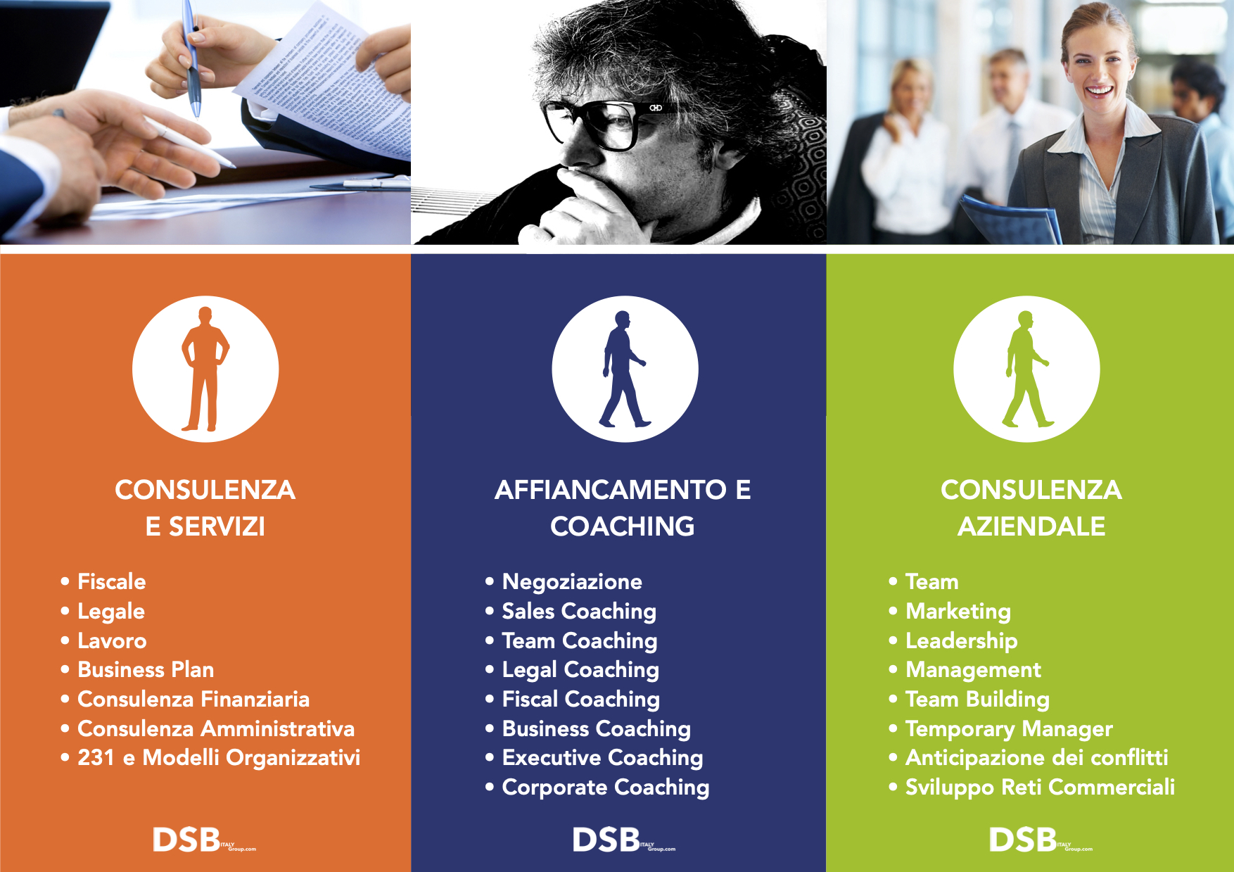 DSB ti affianca con i migliori professionisti per fare evolvere il tuo Business e i tuoi collaboratori.